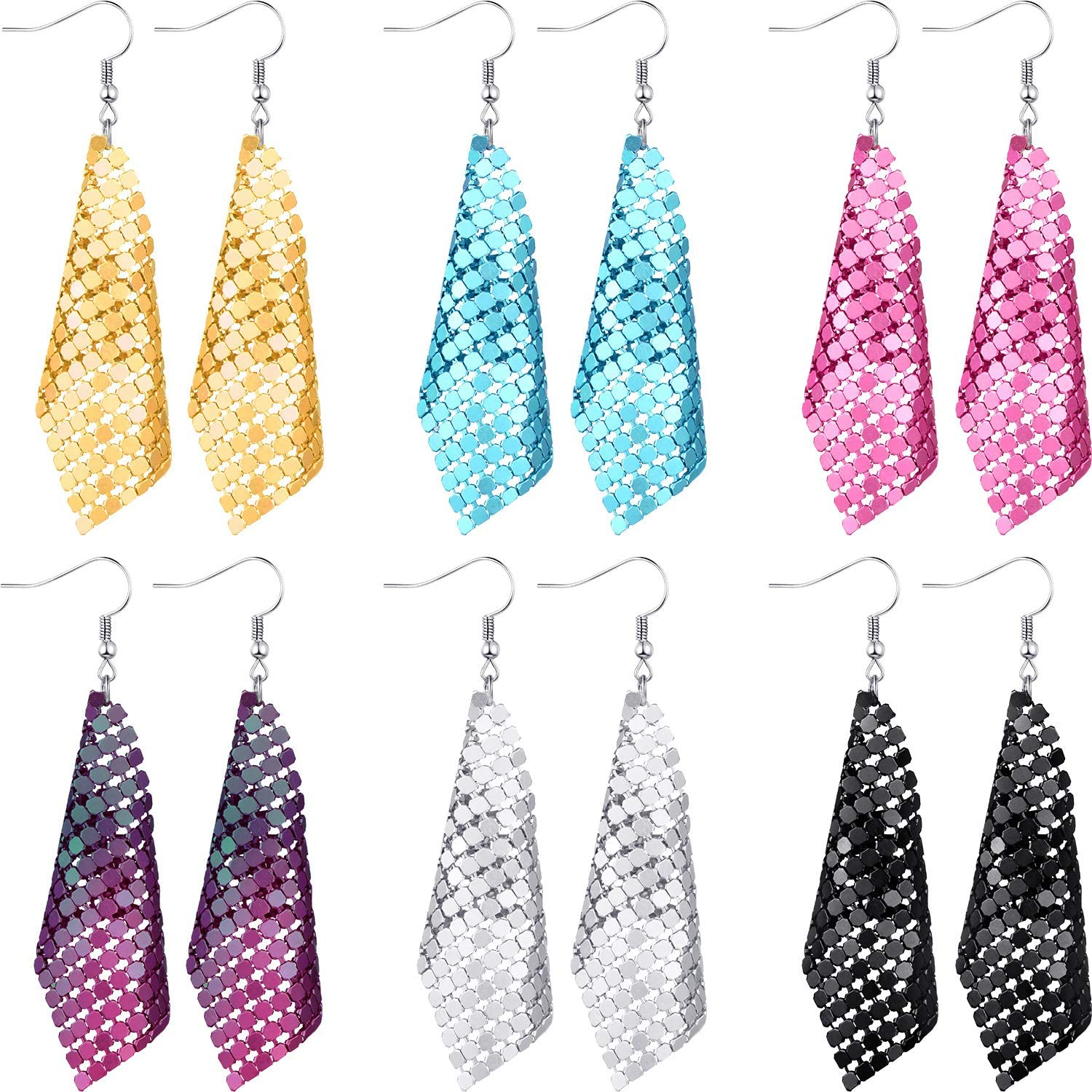 6 Pairs Sequin Dangle Earrings Mesh Grid Tassel Drop Earrings Colorful Sequin Earrings for Women
