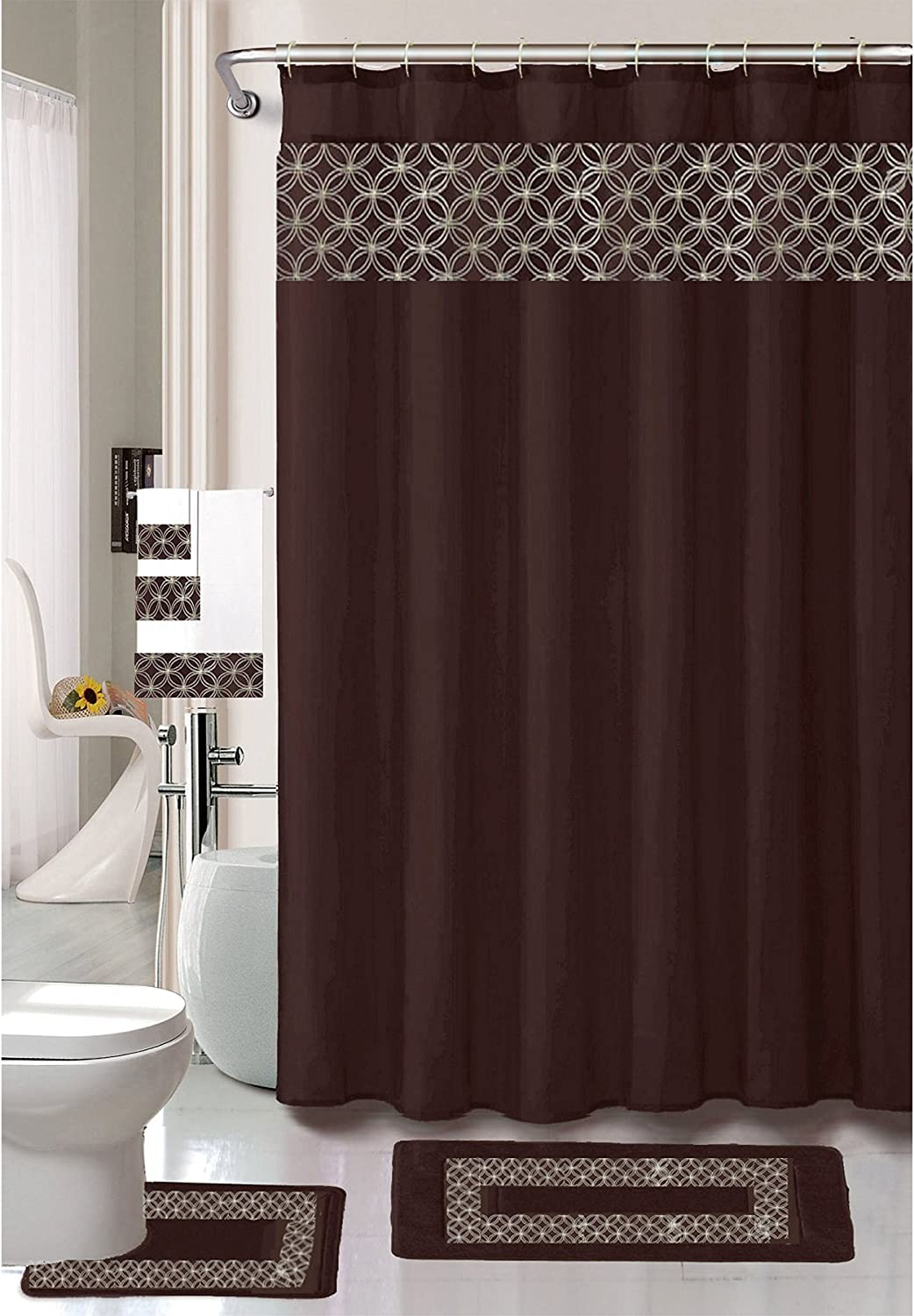 Kashi Home Virginia Embroidery 18 Pc Bathroom Accessories Set, Contour Rug, Shower Curtain with Hooks, Towels (Chocolate)