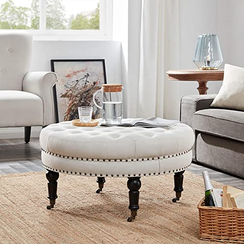 BELLEZE Tufted Beige Linen 33-inch Round Accent Ottoman Foot Stool Large