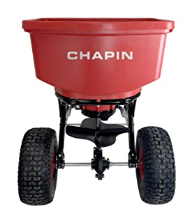 Chapin International 8620B 150 Pound Tow Behind Spreader with Auto-Stop, Red