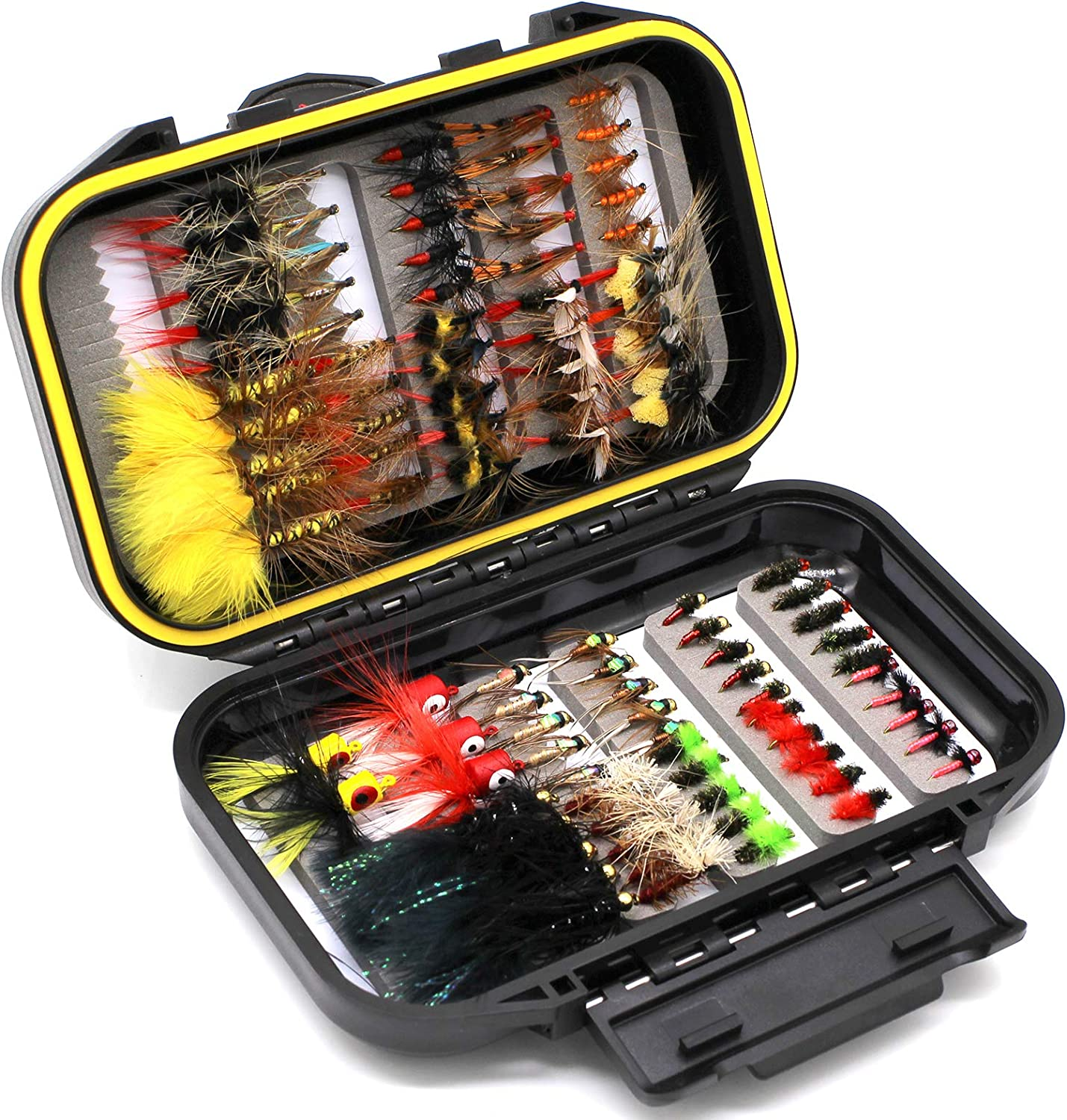 120pcs Fly Fishing Dry Flies Wet Flies Assortment Kit with Waterproof Fly Box for Trout Fishing Croch 60pcs