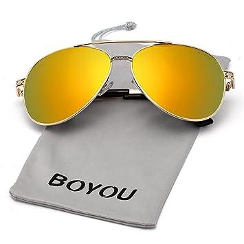 BOYOU Lunettes de soleil Polarized UV400 Aviator Homme, Objectif 61mm,  Protection UV400 6a5f0bd2bc84