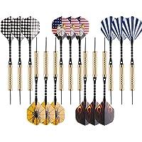 U UZOPI Steel Tip Darts, Black,red,Blue,Stripes