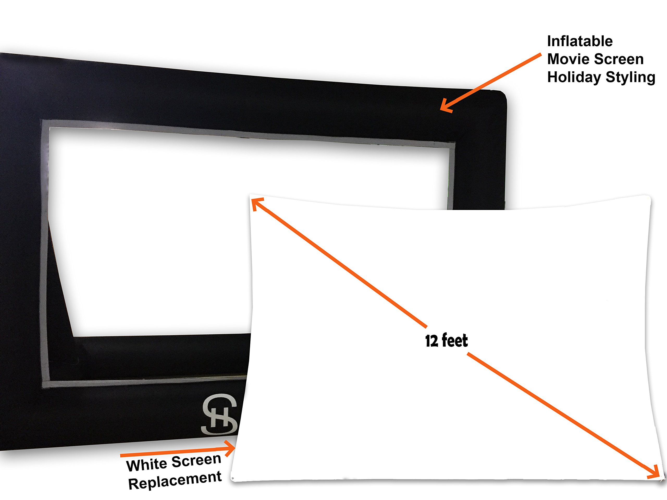 Holiday Styling Projector Screen Replacement (White Part Only 12ft) to Inflatable Outdoor Portable Movie Screen by Holiday Styling