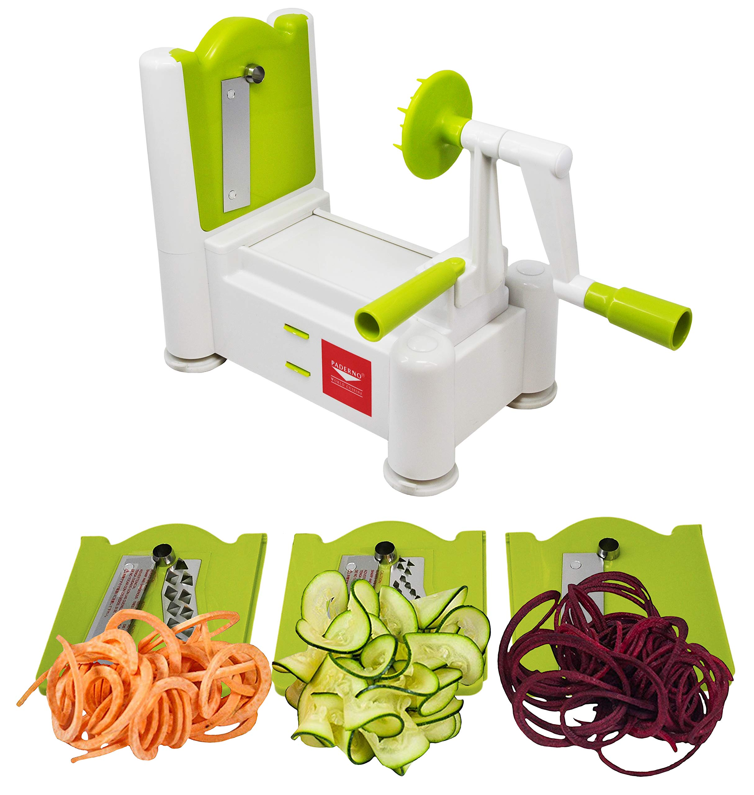 Paderno World Cuisine 3-Blade Vegetable Slicer/Spiralizer, Counter-Mounted and Includes 3 Stainless Steel Blades, White/Lime by Paderno World Cuisine