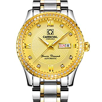 Amazon com: Whatswatch CARNIVAL Mens diamond Dial Automatic
