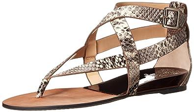 Vince Camuto Women's Addney Gladiator Sandal, BlackWhite Snake,