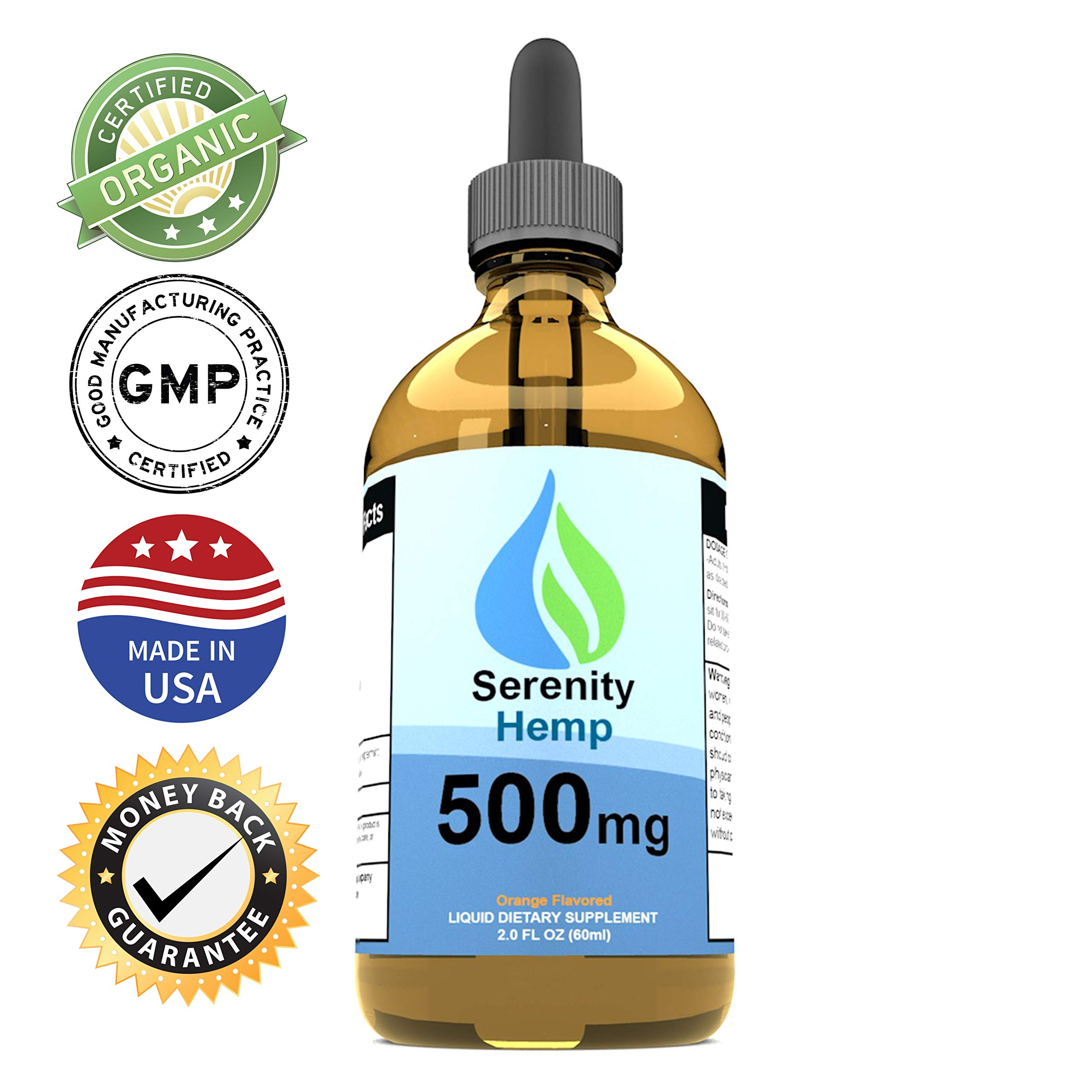 Serenity Hemp Oil - 2 fl oz 500 mg Orange Flavored - Relief for Stress, Inflammation, Pain, Sleep, Anxiety, Depression, Nausea - Rich in Vitamin E, Vitamin B, Omega 3,6,9 and More! Certified Organic by Serenity Hemp Company