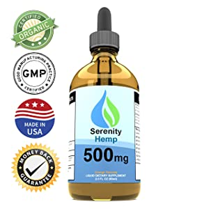 Serenity Hemp Oil - 2 fl oz 500 mg Orange Flavored - Relief for Stress, Inflammation, Pain, Sleep, Anxiety, Depression, Nausea - Rich in Vitamin E, Vitamin B, Omega 3,6,9 and More!Certified Organic