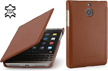 StilGut Book Type Case, custodia in vera pelle a libro per BlackBerry Passport Silver Edition, cognac