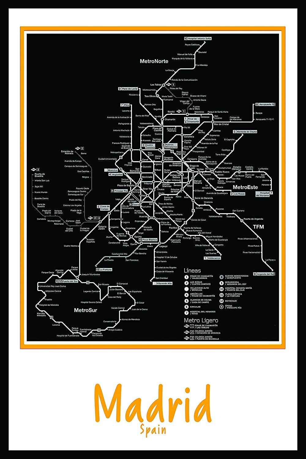 Amazon.com: Madrid Spain Subway map wall art decor by Buttered Kat: Posters & Prints