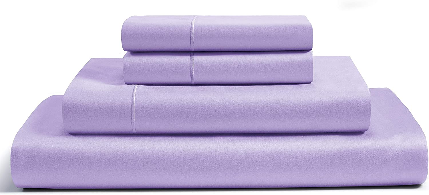 800-Thread-Count Premium 100% Egyptian Cotton Queen Sheets Set - Lilac Long-staple Cotton Queen Bed Sheet, Fits Mattress Upto 16'' Deep Pocket,Breathable,Soft Sateen Weave 4-Piece Sheets & Pillowcases