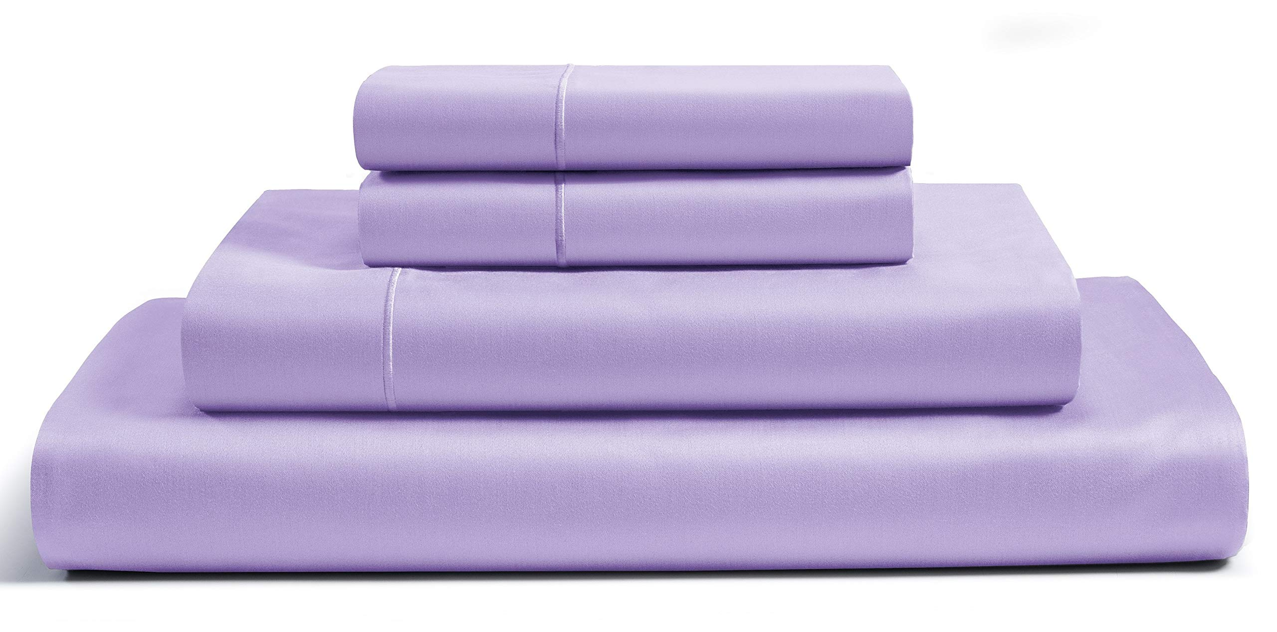 800-Thread-Count Premium 100% Egyptian Cotton Queen Sheets Set - Lilac Long-staple Cotton Queen Bed Sheet, Fits Mattress Upto 16'' Deep Pocket,Breathable,Soft Sateen Weave 4-Piece Sheets & Pillowcases by CHATEAU HOME COLLECTION