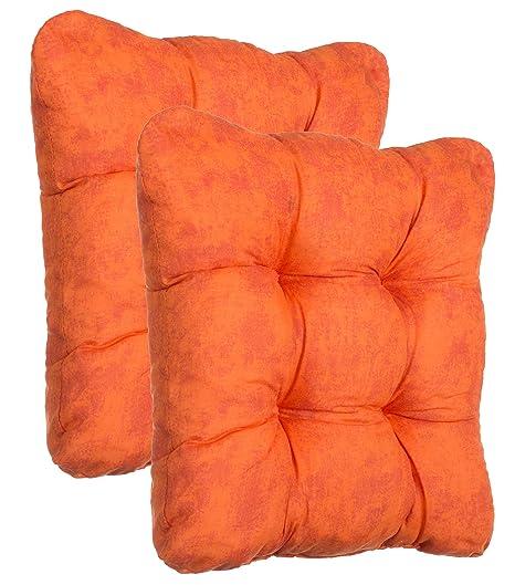 Juego de cojines cojines para asiento silla Cojín Silla Auflage – 2 y 4 – Set – distintos colores, poliéster, rojo, 2er-Set