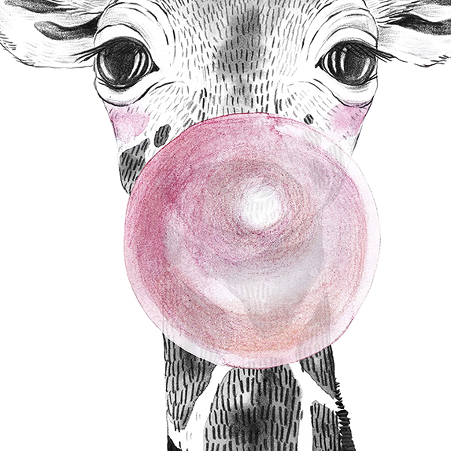 250g Paper NACNIC Nursery Baby Animals with Pink Bubble Gum Wall D/écor Art Prints Beautiful Poster Painting for Home Office Living Room Set of 4 Sheets Unframed 8x11 Inch Size