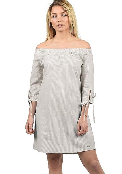 the best attitude 3e236 7f7e3 BlendShe Ophelia Damen Freizeitkleid Kleid Mit Off-Shoulder Carmen-  Ausschnitt Aus 100% Baumwolle Knielang