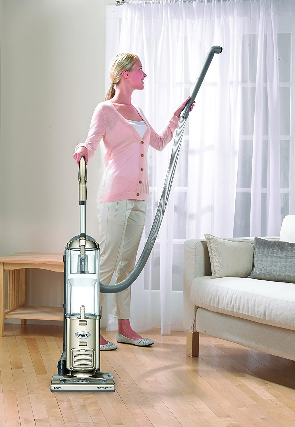 Shark Navigator Deluxe Upright Corded Bagless Vacuum for Carpet and Hard Floor with Anti-Allergy Seal (NV42), Champagne SharkNinja