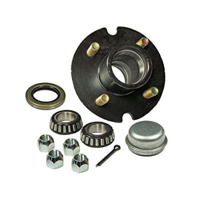 Rigid Hitch Trailer Hub Kit (BT-100-04-A) 4 Bolt on 4 Inch Circle - 1 inch I.D. Bearings: Sports & Outdoors