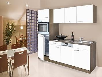 respekta Instalación de Single Cocina - Bloque de Cocina (205 cm Roble York Blanco vitrocerámica: Amazon.es: Hogar