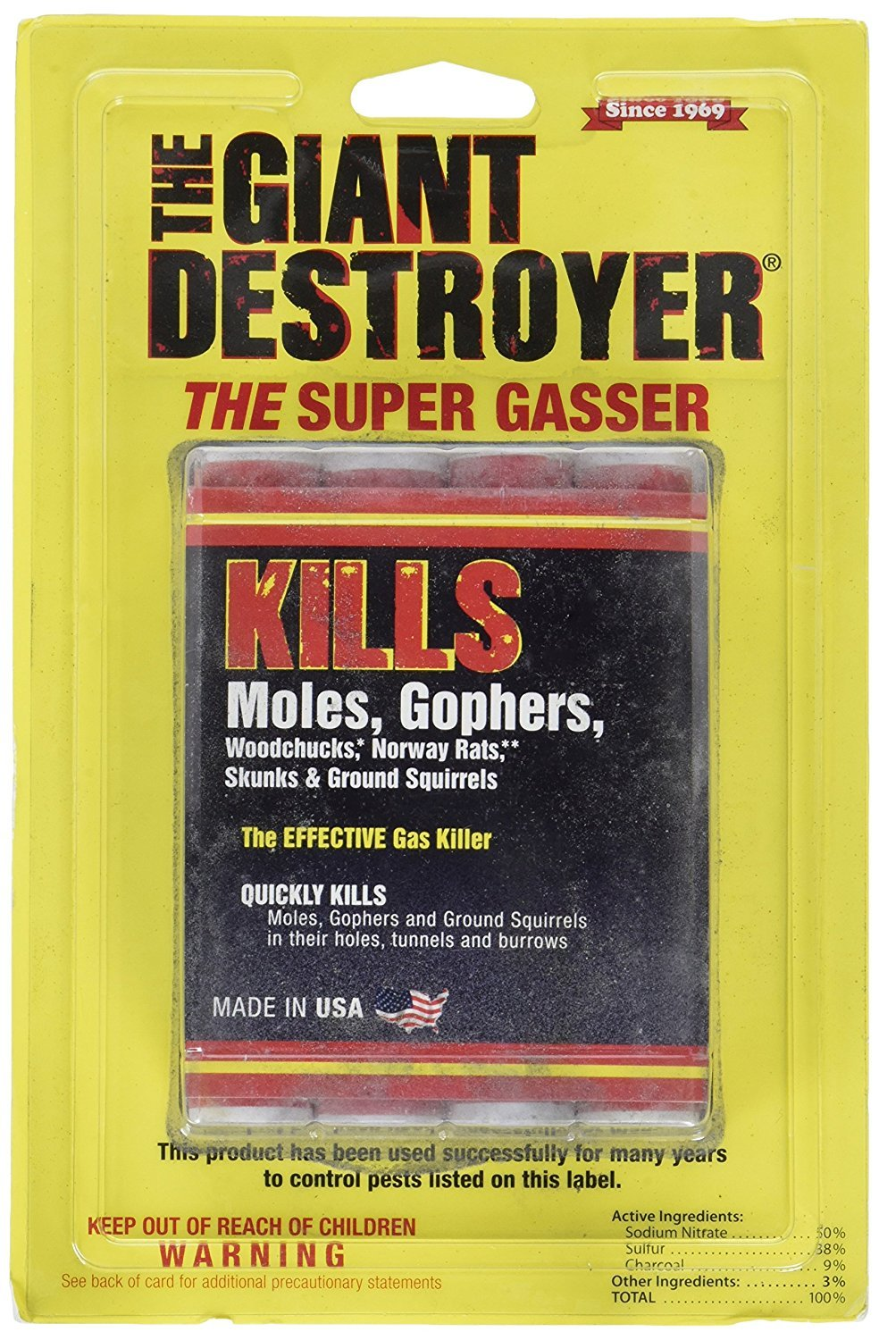 The Giant Destroyer (GAS KILLER) (12/4PK TOTAL) 48 kills Moles, Gophers, Woodchucks, Norway Rats, Skunks, Ground Squirrels in their Holes, Tunnels, Burrows. NO dealing w/ dead pest, better than traps by The Giant Destroyer