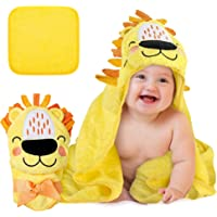 BABENIQ Premium Lion Hooded Baby Towel and Washcloth – Natural 100% Cotton, Soft and Large Infant to Toddler Beach or…