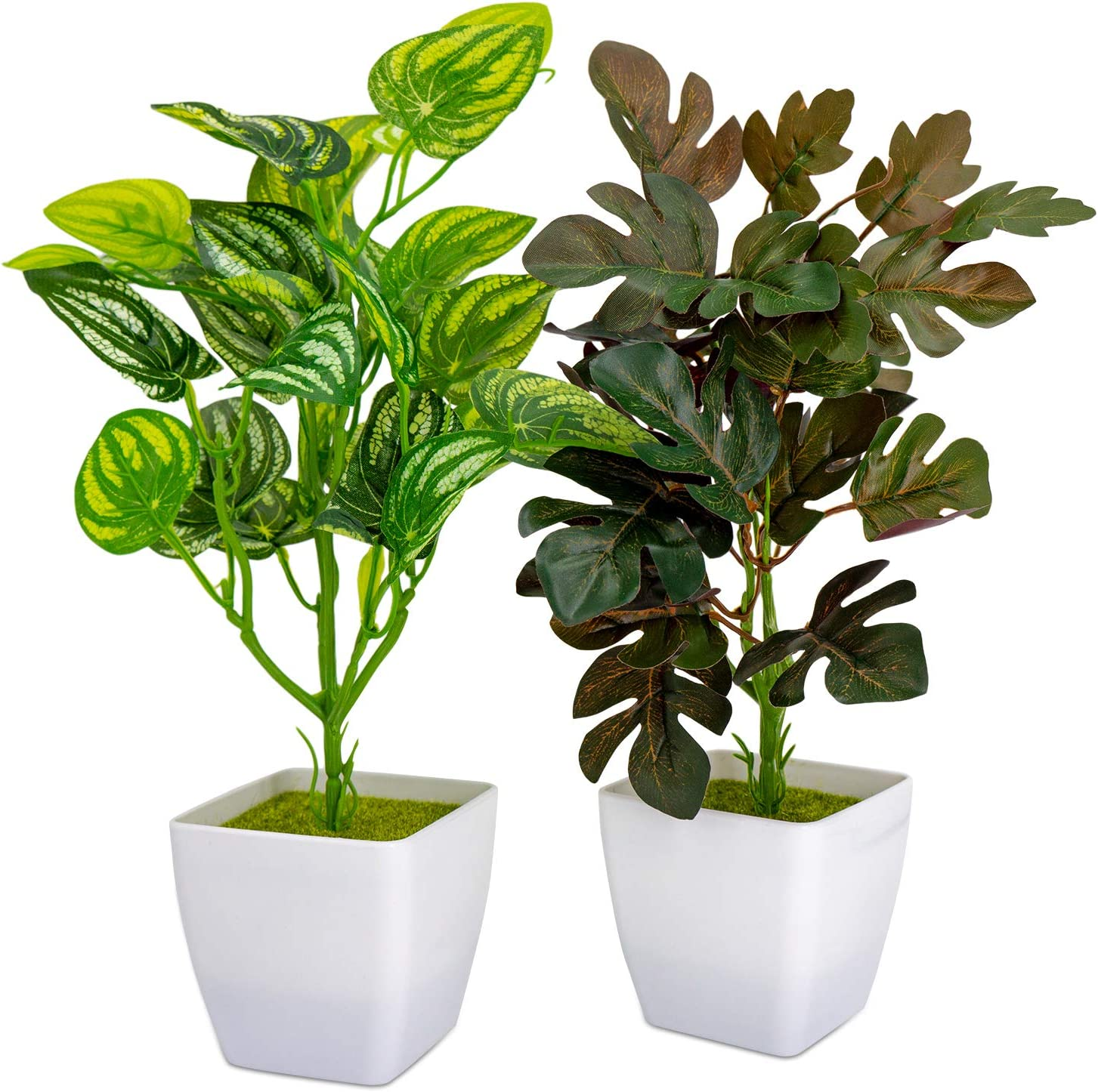 Huryfox 2 Pack Artificial Plants in Pots for Home Decor Indoor Aesthetic, Fall Décor Faux Green Leaves Fake Plant for Desk and Shelf in Bathroom/Bedroom/Living Room/Farmhouse/Christmas Decorations