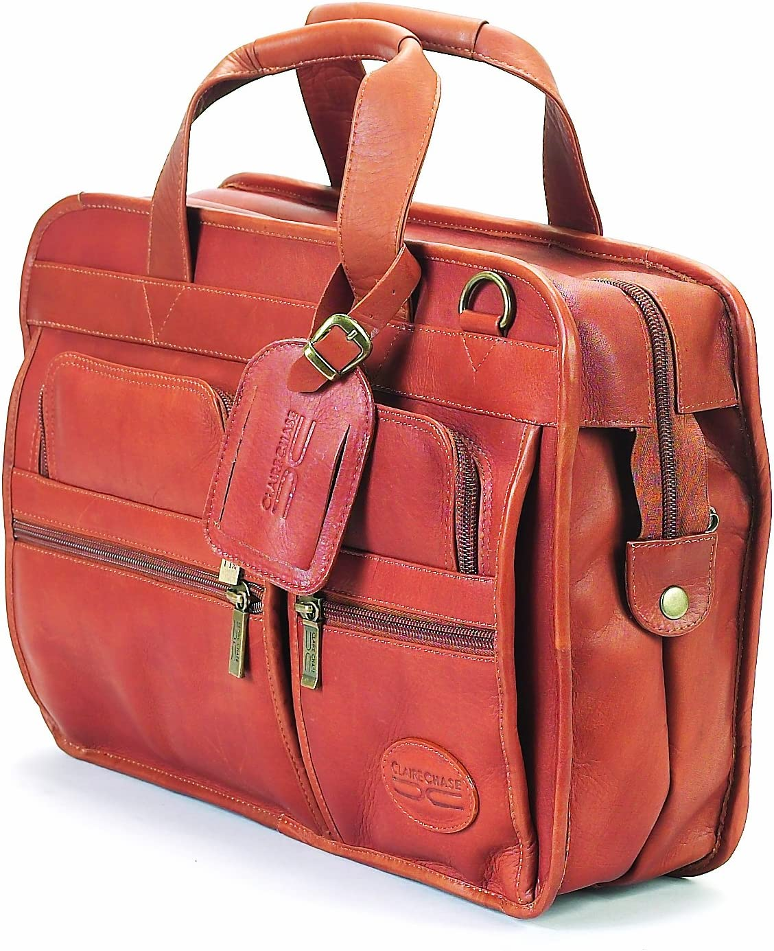 Claire Chase Slimline Executive Briefcase, Saddle, One Size