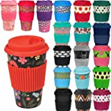 LS Design Öko Cup 400ml Coffee to Go Becher Silikonring Travel Mug BPA frei Schwarz Blumen