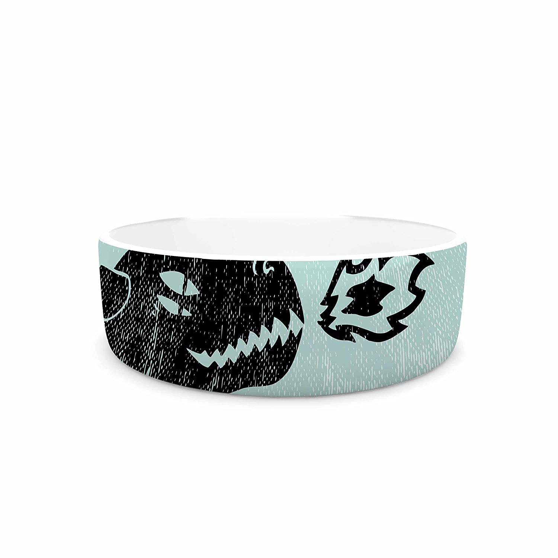 7\ KESS InHouse Anya Volk Fire Monster  bluee Illustration Pet Bowl, 7