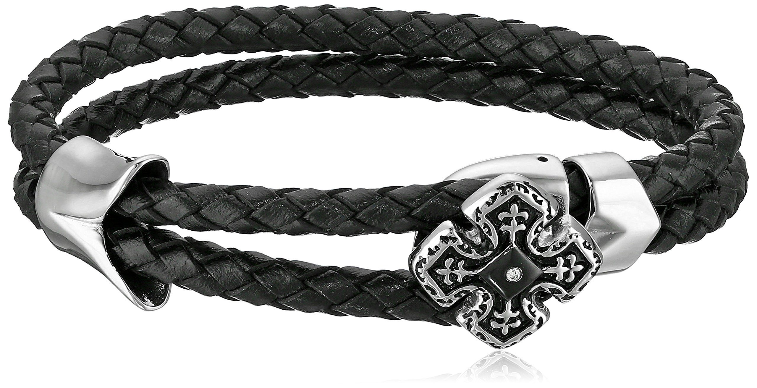 Cold Steel Stainless Steel with Black Leather and Diamond Wrap Bracelet