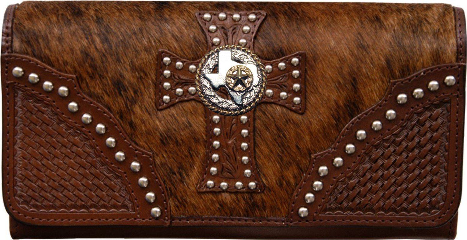 Custom Texas Rope and Star Natural Hair Christian Clutch Wallet with removable checkbook