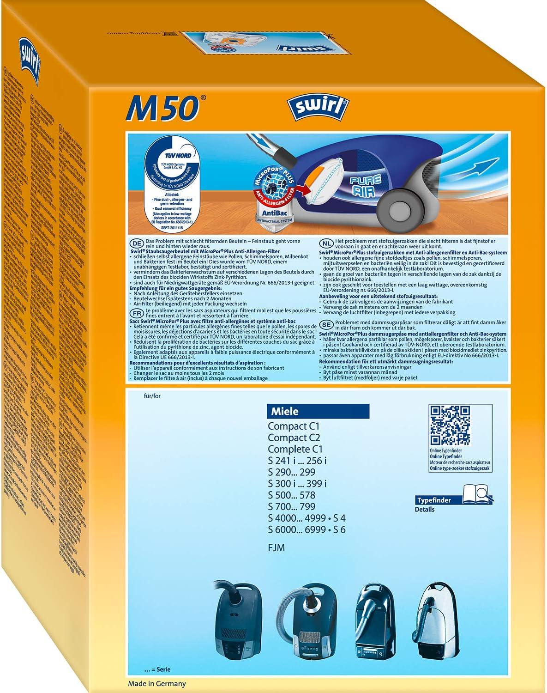 Swirl m52 ou disba m705m Sacs pour Aspirateur Filtres Sacs Convient pour Miele S 147