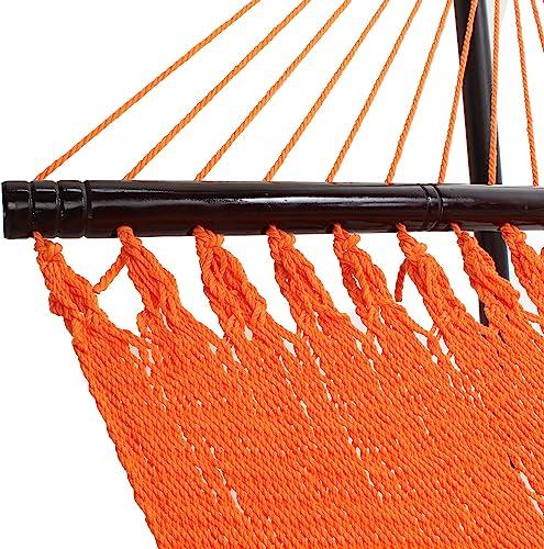 Tropic Island Large Soft Spun Polyester Sunset Orange Caribbean Hammock with FREE Hanging Hardware