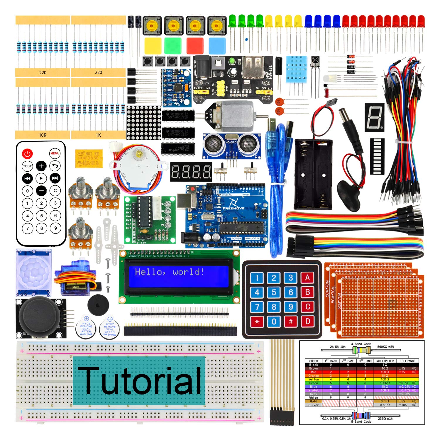 Freenove Ultimate Starter Kit with R3 Board (Compatible with Arduino IDE), 260 Pages Detailed Tutorial, 217 Items, 51 Projects, Solderless Breadboard by Freenove