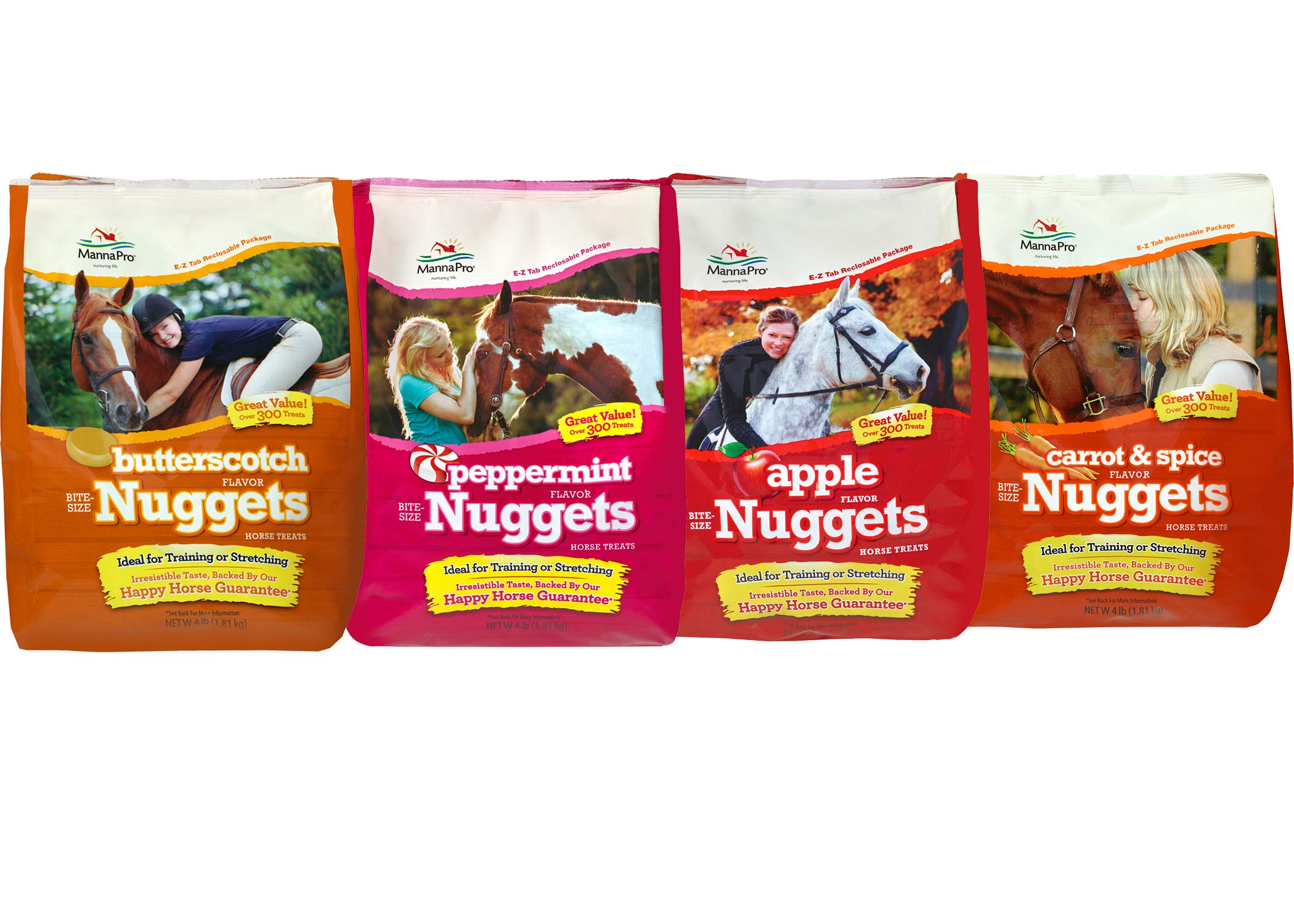 Manna Pro Horse Treat Variety Pack, 4lb Bags of Butterscotch, Apple, Peppermint, and Carrot (16 Pounds Total)