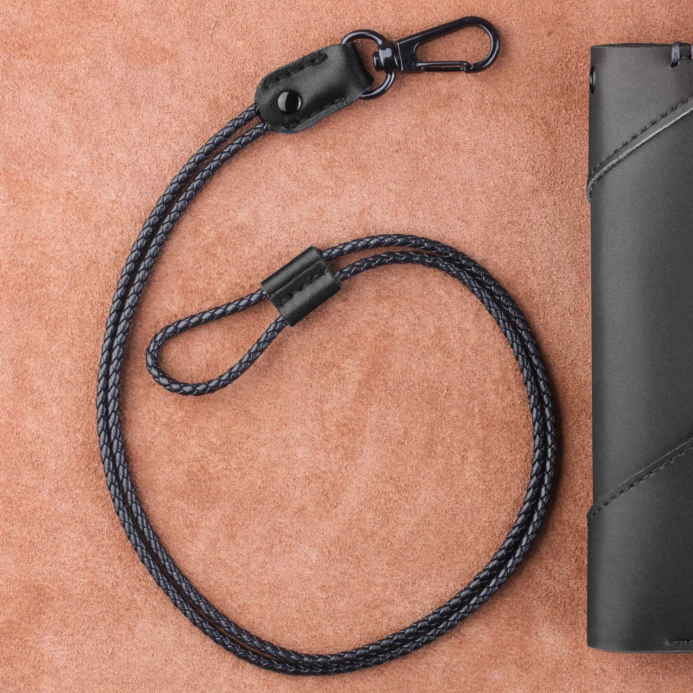 in pelle con clip in metallo resistente Cordino da collo per tessere chiavi unisex Blu