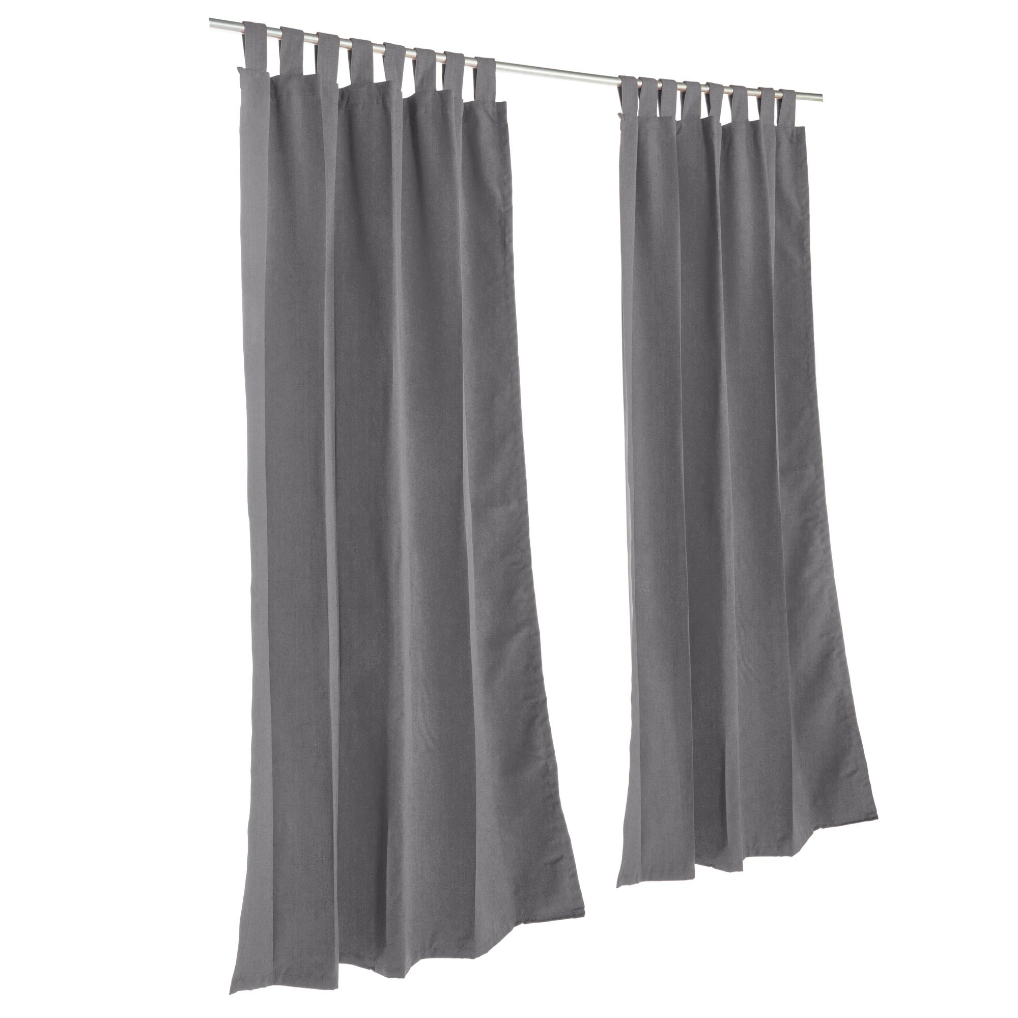 Essentials by DFO Charcoal Sunbrella outdoor curtain with tabs 108 long
