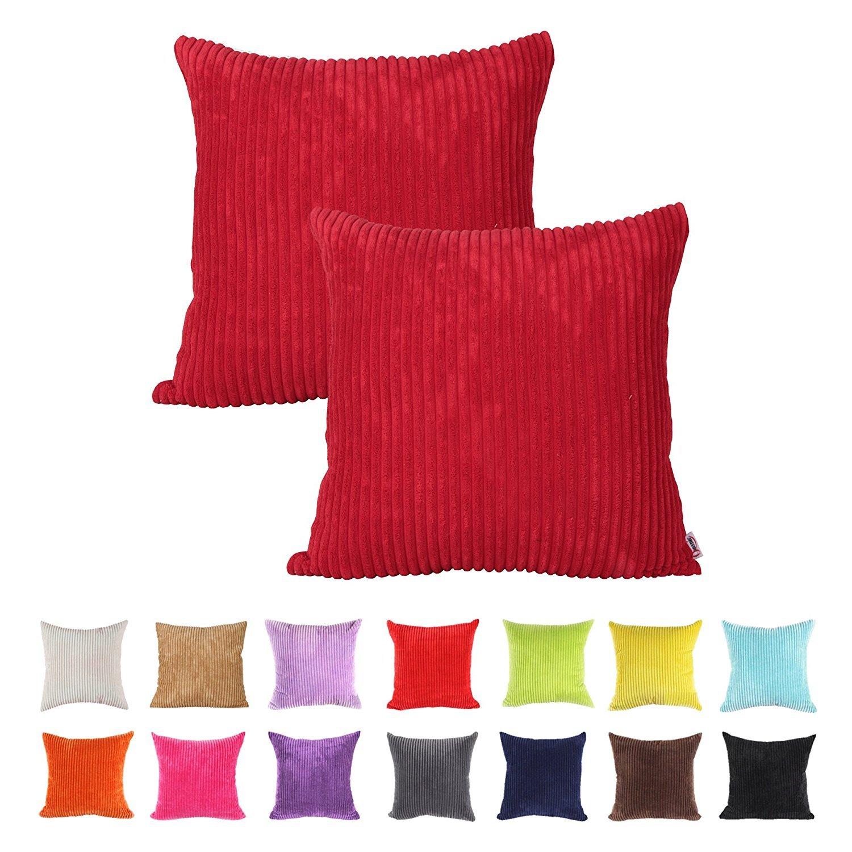 IHRKleid® - Fundas de cojín decorativas para sofá - Color liso, algodón, rojo, 50*50 cm