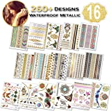 Temporary Tattoos for Women (Waterproof Festival Tattoos), 16 Sheets Gold Stickers, (260+ Designs, Temporary Tattoo Festival) Fake Tattoos for Girls, Woman, Adult