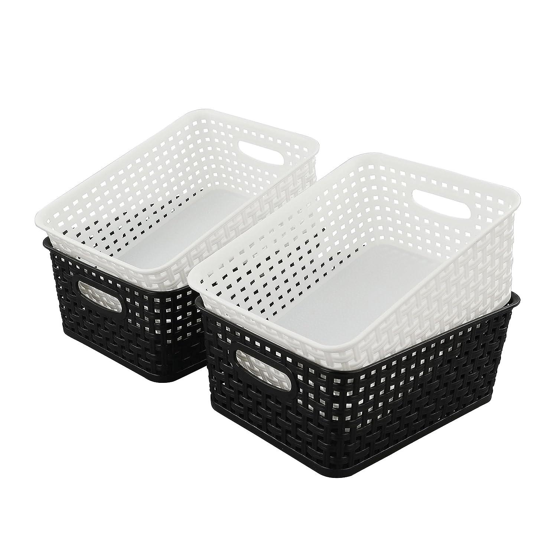 Hommp Plastic Weave Storage Storage Organizer Basket/Bin, Plastic Basket, 4-Pack Homeproduct 104912B2W