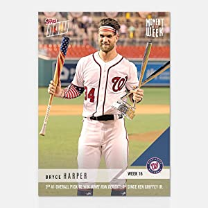 2018 BRYCE HARPER WINS ALL STAR HOME-RUN DERBY TOPPS MOMENT OF THE WEEK #MOW-16 + TOPLOADER