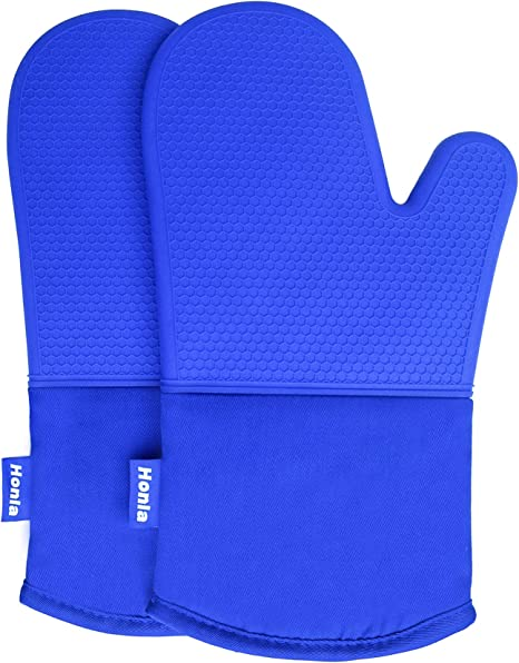 1 Pair Cotton Oven Gloves Oven Mitts with Fingers Kitchen Pot Holders Blue