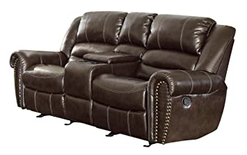 homelegance 9668brw2 double glider reclining loveseat with center console brown bonded leather