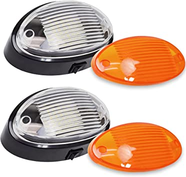 2 LED RV Exterior Porch Utility Light Oval 12v 300 Lumen Lighting Fixture Replacement Lighting RVs Black on//Off Switch, 2-Pack Campers Trailers Clear Amber Lens 5th Wheels.Black Base