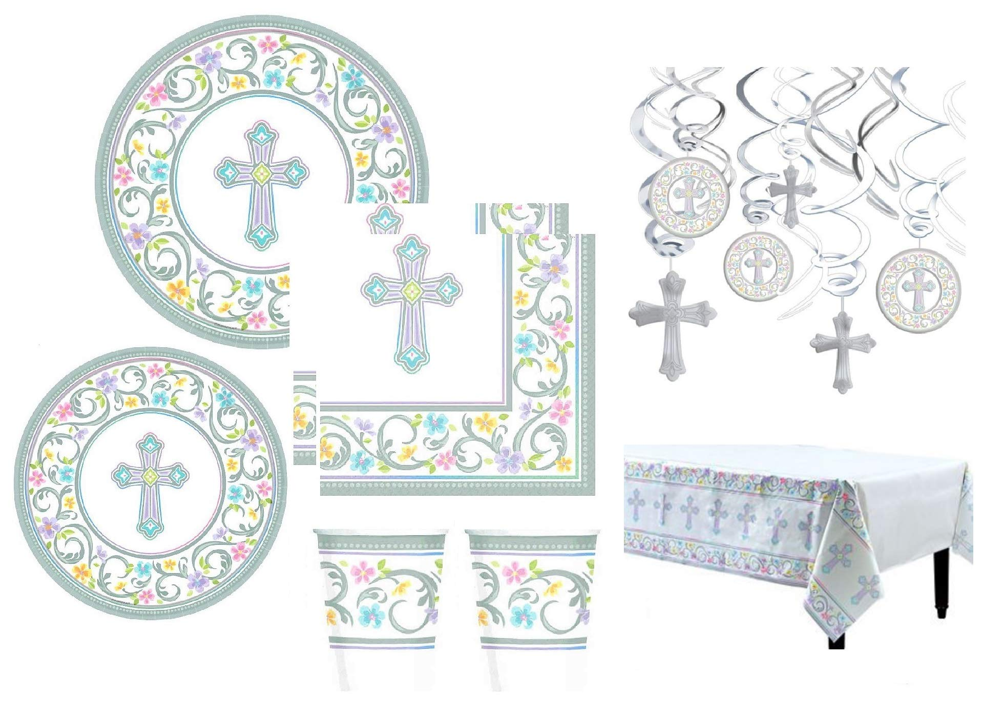 Inspirational Religious Party Supplies And Decorations For Baptism Confirmation Holy Communion Dedication Themed Plates Napkins Cups Hanging Swirls Table Cover