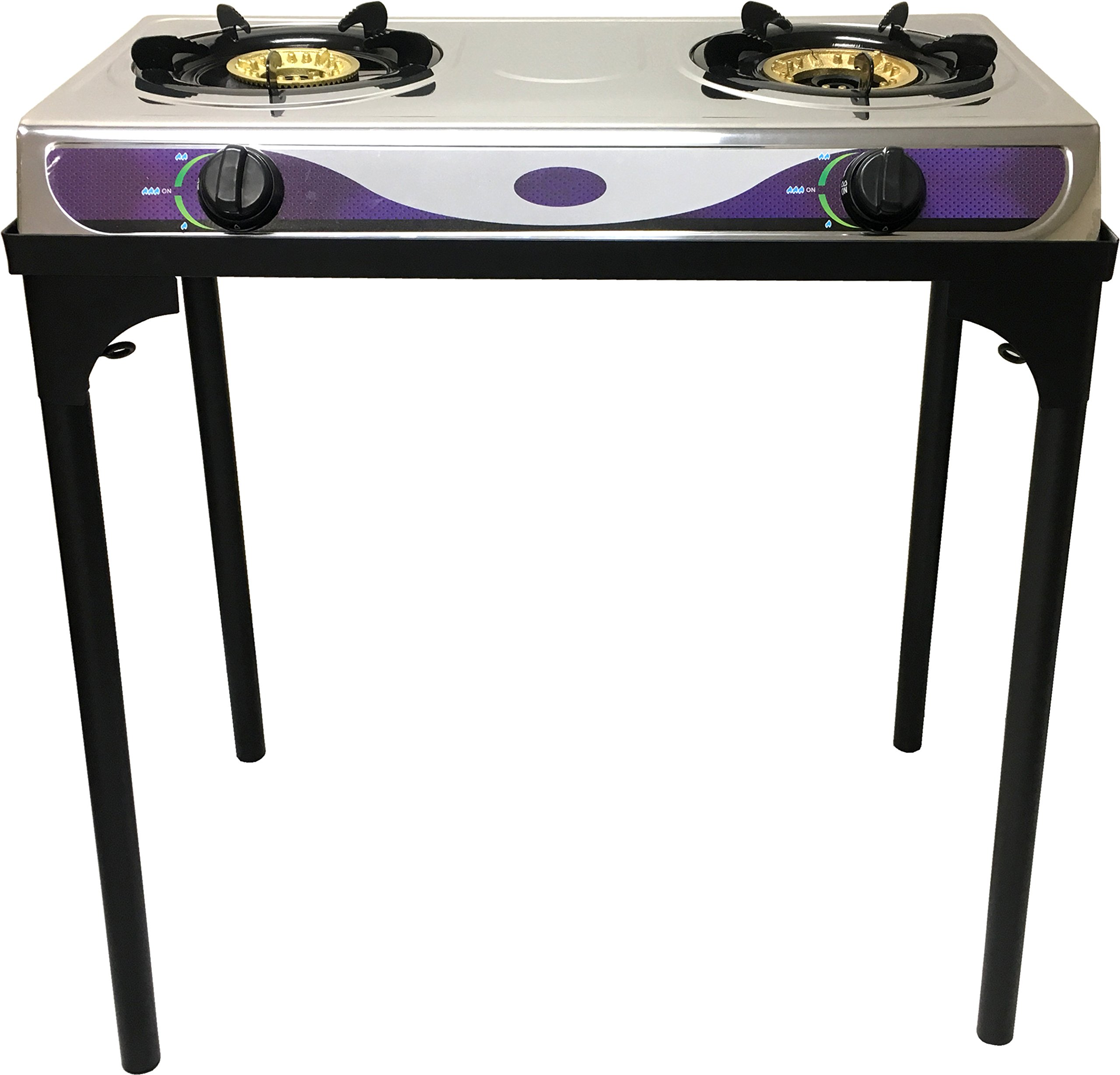1 Heavy Duty Double Burner Propane Gas Stove Outdoor Cooking Butane Gas Stove Full Stainless Steel Body Electronic Ignition Available without or with Black Metal Stand (TWO STOVE BURNER WITH STAND)