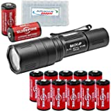 SureFire EB1 Backup LED Flashlight 300 Lumens Dual Output with 12x Extra Surefire CR123A Batteries and 3 Alliance Gadget Battery Cases
