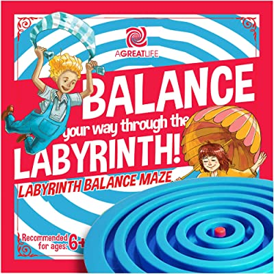 aGreatLife Labyrinth Balance Board Game - Includes 3 Steel Balls - Brain Teaser Puzzle Maze for Kids, Adults and Seniors - 3D Labyrinth Puzzle for Birthdays, Christmas - Blue: Toys & Games