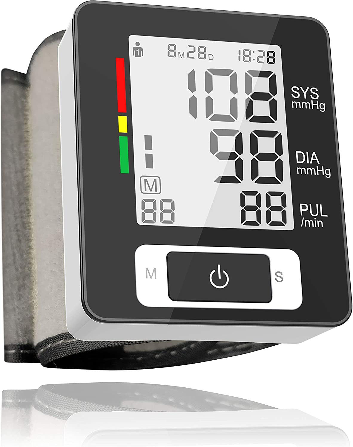 Wrist Blood Pressure Monitor Fully Automatic Digital Blood Pressure Cuff FDA Approved Electric Portable BP Monitor with Large Screen and 90 Accurate Fast Readings Memory Function for 2 Users