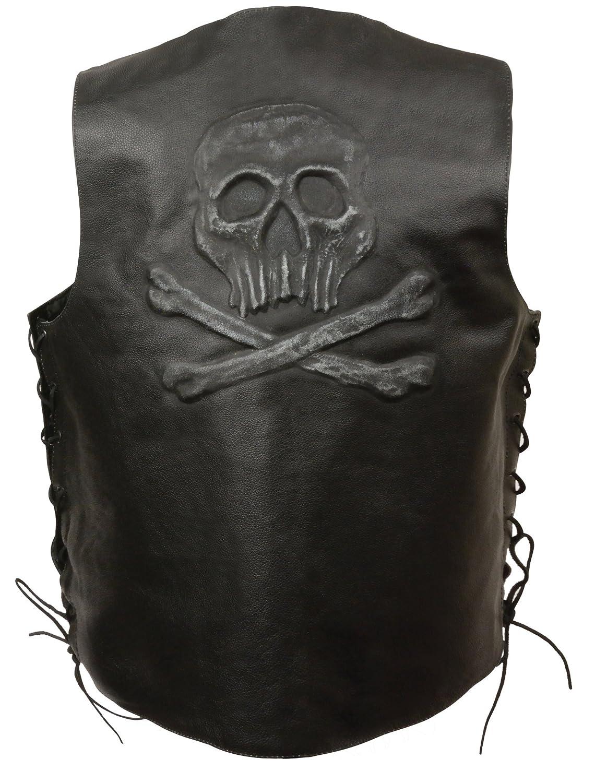 Black, XX-Large Event Leather Mens Skull and Bones Vest